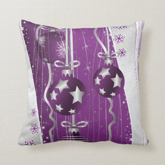 Purple, grey Christmas balls stars and snowflakes Cushion