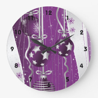 Purple, grey Christmas balls stars and snowflakes Large Clock