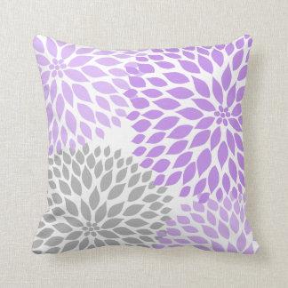 Purple Grey Dahlia floral pillow