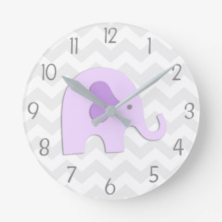 Purple Grey Elephant Nursery Wall Clock