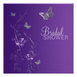 Purple Grey Floral Butterfly Bridal Shower Invite