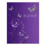 Purple, Grey Floral with Butterflies RSVP Card 2 Personalised Invite