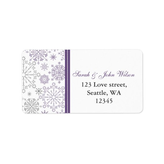 purple grey snowflake mod  return address label