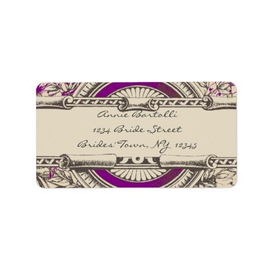 Purple Grey Vintage RSVP Return Address Address Label