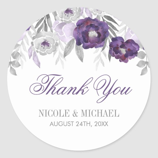 Purple Grey Watercolor Flowers Wedding Thank You Classic