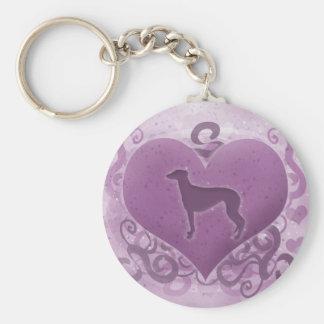 Purple Greyhound Valentine Keychains