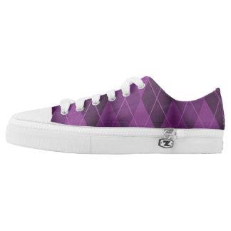 Purple Grunge Argyle Printed Shoes