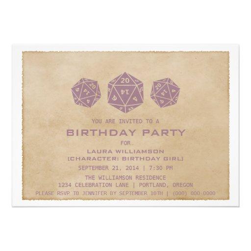 Purple Grunge D20 Dice Gamer Birthday Party Invite