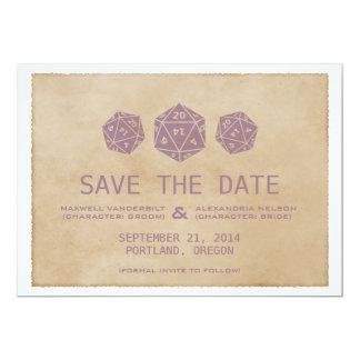 Purple Grunge D20 Dice Gamer Save the Date Invite