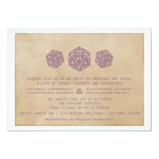 "Purple Grunge D20 Dice Gamer Wedding Invitation 5"" X 7"" Invitation Card"