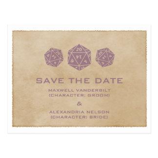 Purple Grunge D20 Dice Save the Date Postcard