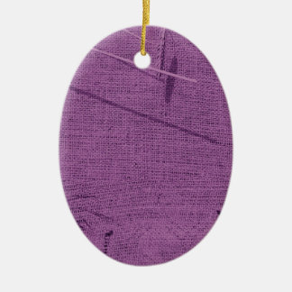 Purple grunge fabric background type design ceramic oval decoration