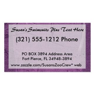 Purple grunge fabric background type design pack of standard business cards