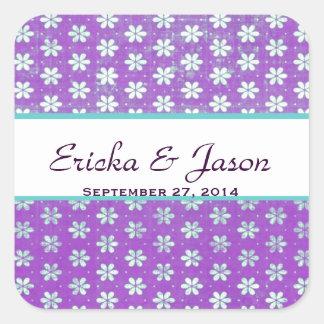 Purple Grunge Flowers Bride Save the Date Wedding Square Sticker