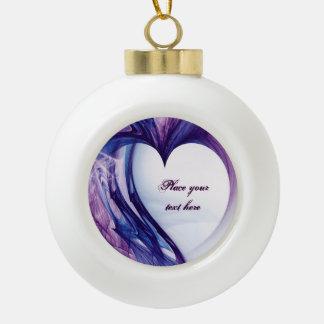 Purple Grunge Heart Ceramic Ball Christmas Ornament