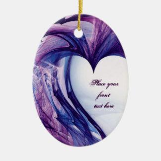 Purple Grunge Heart Christmas Ornament