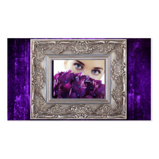 purple grunge picture frame, eyes over hydrangeas Double-Sided standard business cards (Pack of 100)