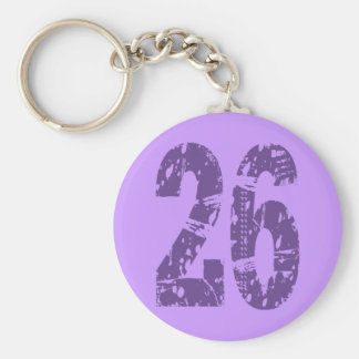 PURPLE GRUNGE STYLE NUMBER 26 BASIC ROUND BUTTON KEY RING