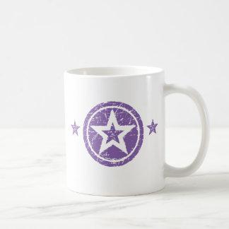PURPLE GRUNGE STYLE STARS BASIC WHITE MUG