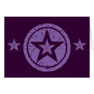 PURPLE GRUNGE STYLE STARS GREETING CARD
