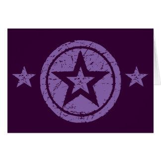 PURPLE GRUNGE STYLE STARS GREETING CARDS