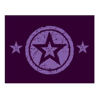 PURPLE GRUNGE STYLE STARS POSTCARD