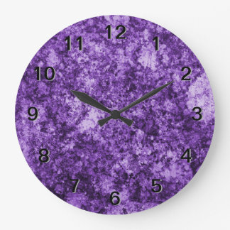 Purple Grungy Abstract Design Wall Clock