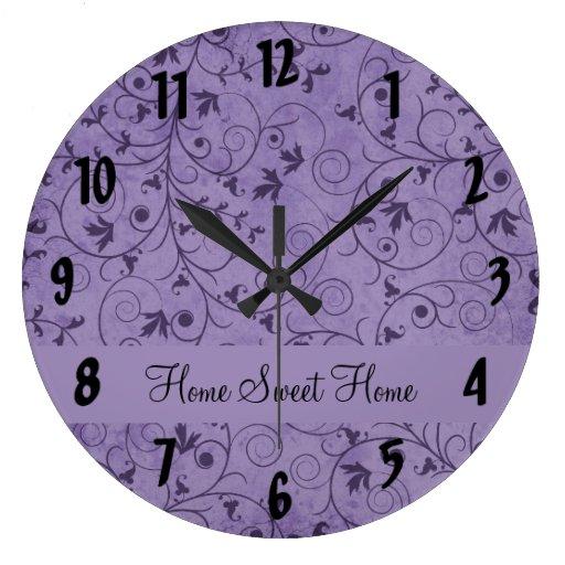 Purple Grungy Floral Wall Clocks