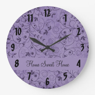 Purple Grungy Floral Wall Clocks
