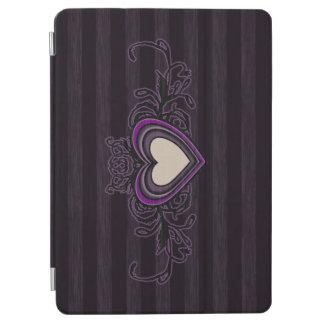 Purple Grungy Stripes Dark Heart iPad Air Cover