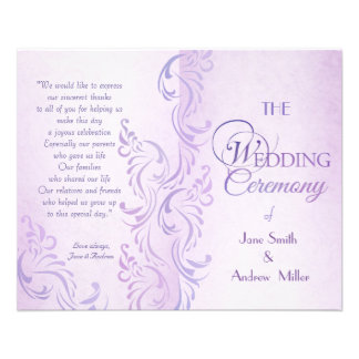 Purple grungy Wedding programs 11.5 Cm X 14 Cm Flyer