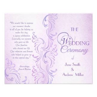 Purple grungy Wedding programs Flyer