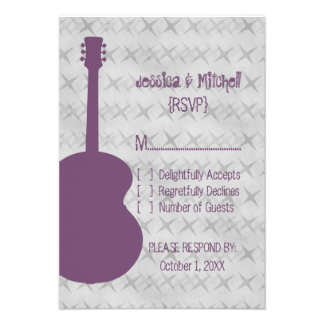 Purple Guitar Grunge Response Card