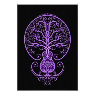 Purple Guitar Tree of Life on Black Announcements