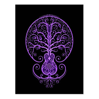 Purple Guitar Tree of Life on Black Post Card