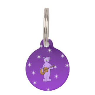 Purple Guitarist Bear. Pet Name Tag