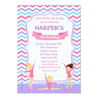 Purple Gymnastics Gym Birthday Invitations