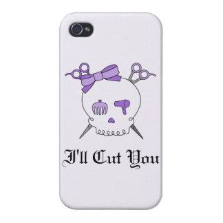 Purple Hair Accessory Skull -Scissor Crossbones 2 iPhone 4/4S Cases