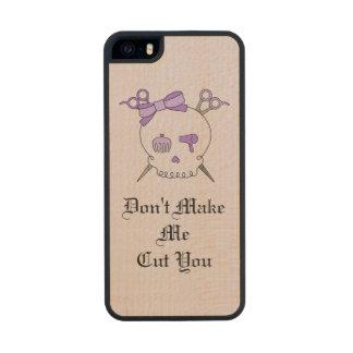 Purple Hair Accessory Skull -Scissor Crossbones #4 Carved® Maple iPhone 5 Case