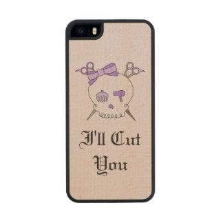 Purple Hair Accessory Skull -Scissor Crossbones #6 Carved® Maple iPhone 5 Case