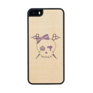 Purple Hair Accessory Skull -Scissor Crossbones Carved® Maple iPhone 5 Slim Case