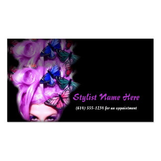 Purple Hair Butterfly Lady Appt. 2 Business Cards