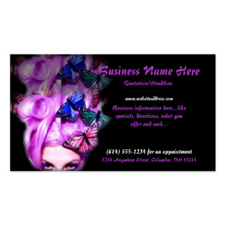 Purple Hair Butterfly Lady Business Cards