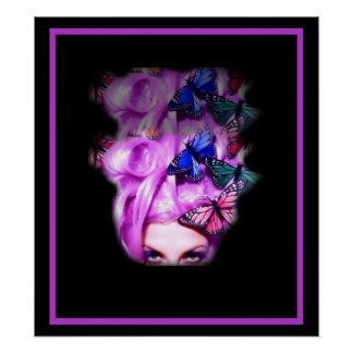 Purple Hair Butterfly Lady  Poster/Print 2 Poster