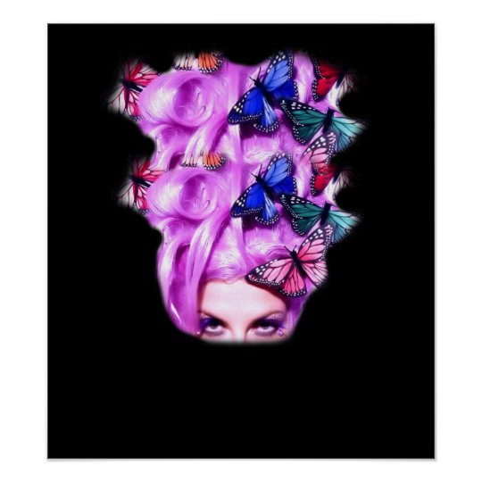 Purple Hair Butterfly Lady  Poster/Print 5 Poster