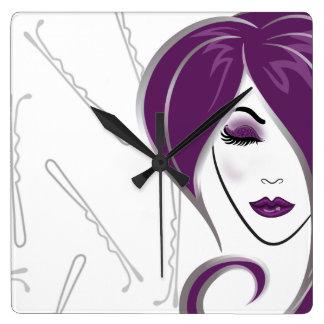 Purple hair girl- salon clock