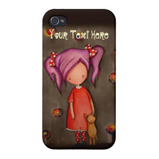 Purple hair girl with cat iPhone4 Savvy Case iPhone 4 Cases