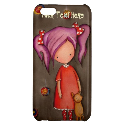 Purple hair girl with cat iPhone5 Savvy Case Cover For iPhone 5C
