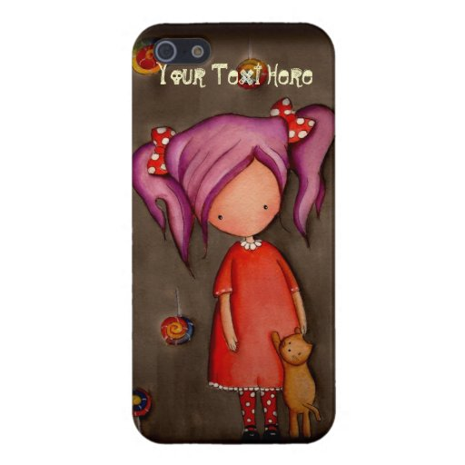 Purple hair girl with cat iPhone 5/5S Savvy Case Cover For iPhone 5/5S