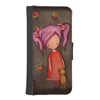 Purple hair girl with cat iPhone 5/5s Wallet Case iPhone 5 Wallets